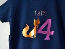 Load image into Gallery viewer, I am age fox birthday t-shirt, close up