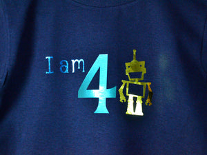 I am age robot birthday t-shirt, close up