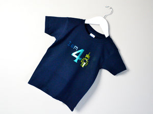 I am age robot birthday t-shirt, tilted image