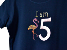 Load image into Gallery viewer, I am age flamingo birthday t-shirt, close up