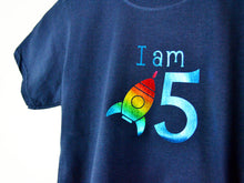 Load image into Gallery viewer, I am age rocket birthday t-shirt, close up