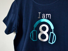 Load image into Gallery viewer, I am age headphones birthday t-shirt, close up