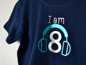 I am age headphones birthday t-shirt, close up