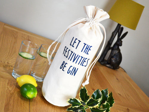 Let the festivities be gin bottle bag in glitter navy text