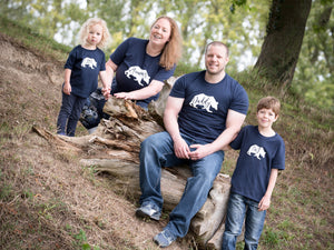 Mummy, Daddy, Big and Little Bear T-shirts modelled by family