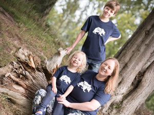 Big, Little and Mummy Bear T-shirts being modelled