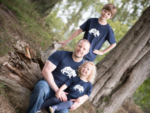 Big, Little and Daddy Bear T-shirts being modelled