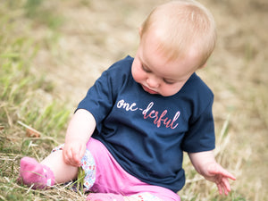 One-Derful Slogan 1st Birthday T-Shirt, modelled
