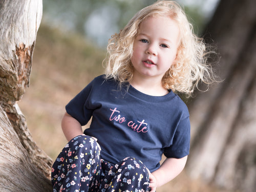 Two Cute Slogan 2nd Birthday T Shirt, modelled