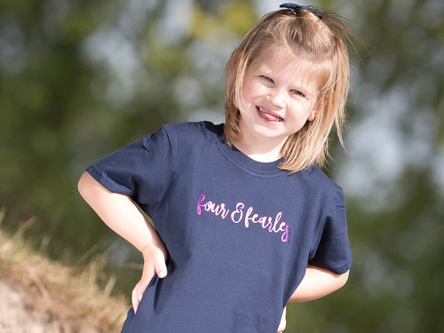 Four & Fearless Slogan 4th Birthday T Shirt, modelled