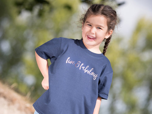 Five & Fabulous Slogan 5th Birthday T Shirt, modelled
