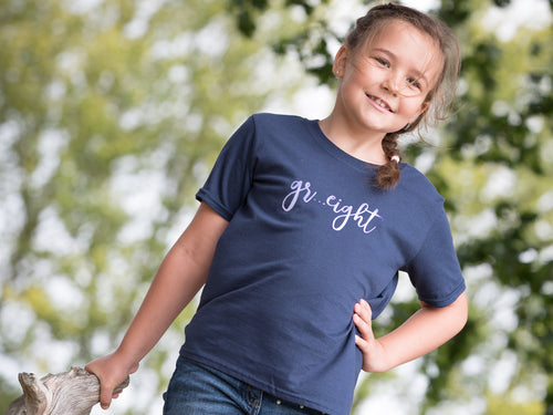 Gr... Eight Slogan 8th Birthday T Shirt, modelled