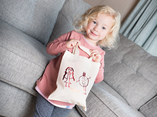 Children's Drawing Mini Tote Bag with little girl