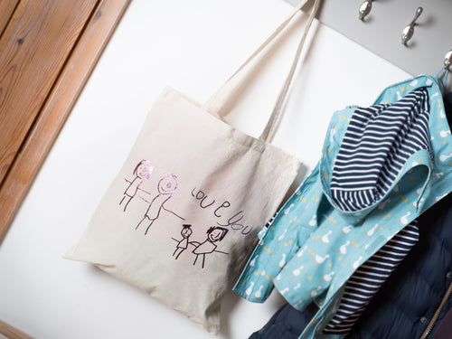 Children's drawing tote bag, close up