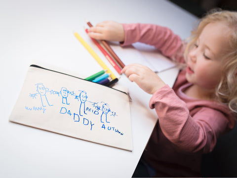 Child's drawing on a zipped case