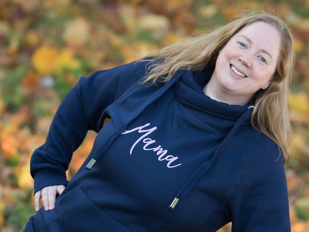 Luxury Mama Hoodie with cross neck, close up