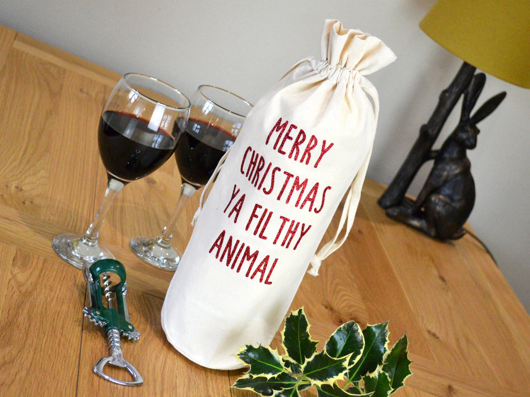 Merry Christmas Ya Filthy Animal Bottle Bag