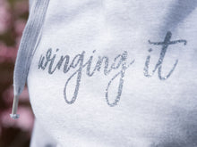 Load image into Gallery viewer, Custom Slogan Ash Grey Hoodie, Glitter Grey