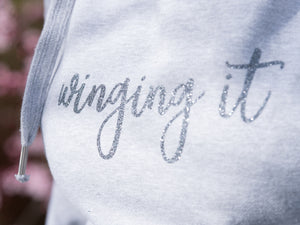 Custom Slogan Ash Grey Hoodie, Glitter Grey