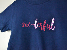 Load image into Gallery viewer, One-Derful Slogan 1st Birthday T Shirt, close up