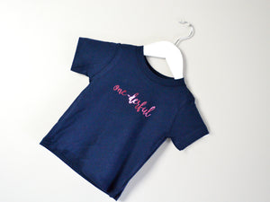 One-Derful Slogan 1st Birthday T Shirt, tilted image