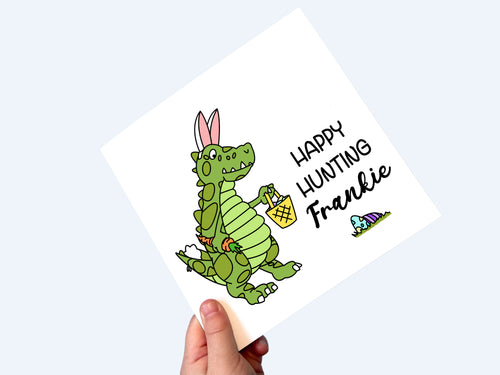 Personalised Easter Card, Happy Hunting T-Rex Easter Bunny by Little Foxglove