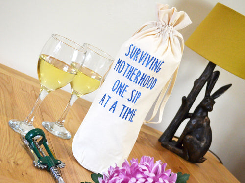 Surviving Motherhood Bottle Bag, glitter blue