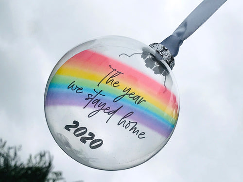 Rainbow Glass Bauble, The year we stayed home 2020