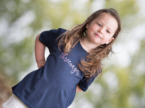 Threenager t-shirt modelled, perfect 3rd birthday gift for a little girl