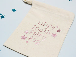 Rose-gold custom tooth fairy bag