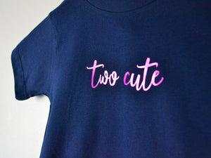 Two Cute Slogan 2nd Birthday T Shirt, close up