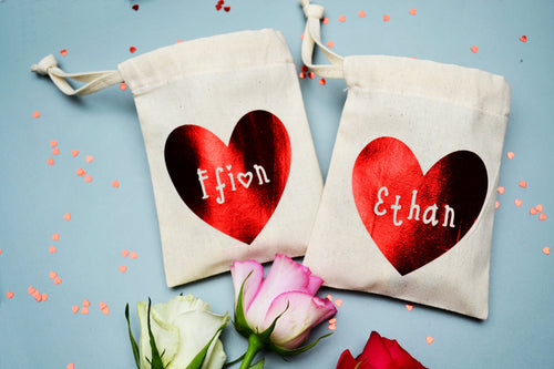 Custom Heart Treat Bags, perfect for Valentine's Day