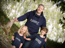 Load image into Gallery viewer, Navy Varsity Daddy Est 'Year' Hoodie with Varsity Age T-shirts