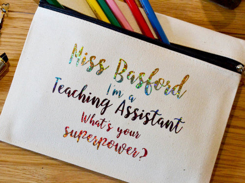 Custom I'm a Teaching Assistant Pencil / Small Accessories Case