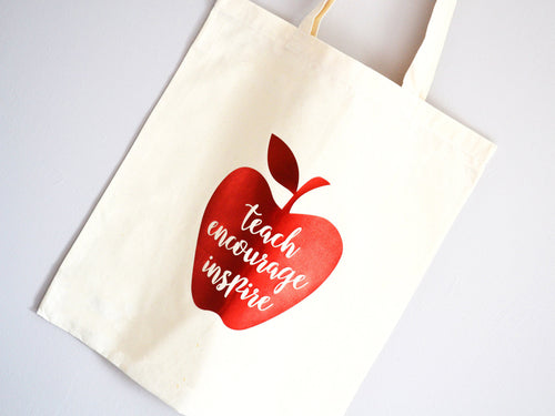 Teach Encourage Inspire Slogan Apple Teacher Tote Bag