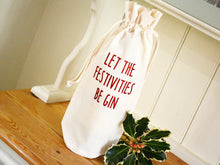 Load image into Gallery viewer, Let the festivities be gin bottle bag in glitter red text
