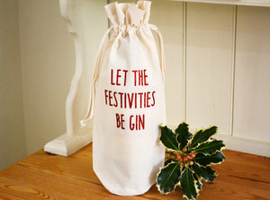 Let the festivities be gin bottle bag in glitter red text