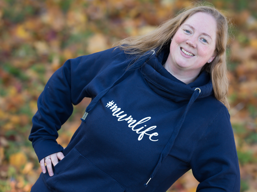 Luxury #Mumlife Cross Neck Hoodie, close up