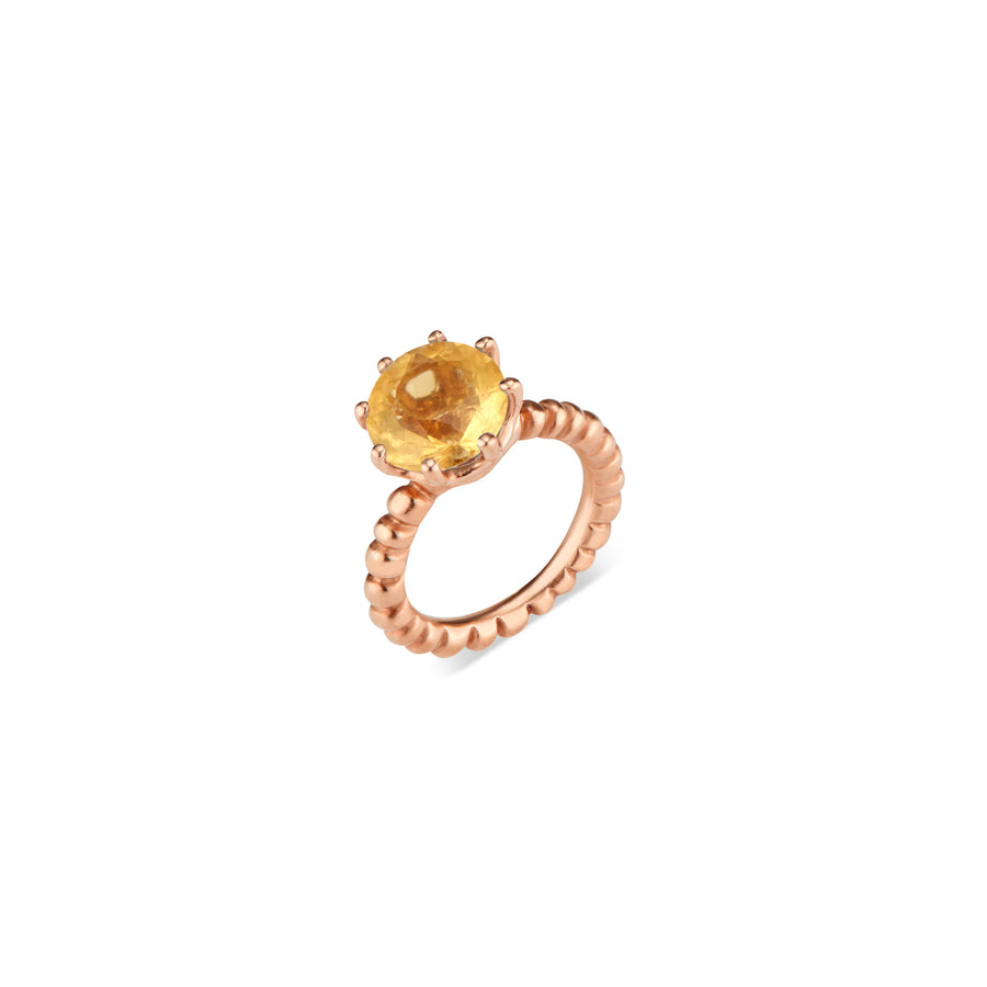Rose Gold Crown Ring with Citrine