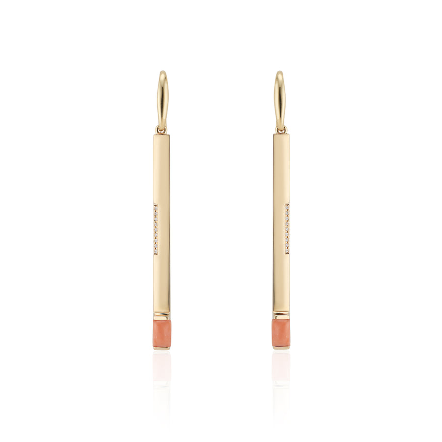 Diamond & Coral Dream Matchstick Earrings