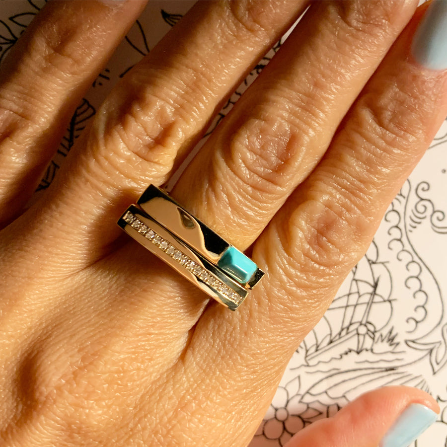 Turquoise Mini Matchstick Ring