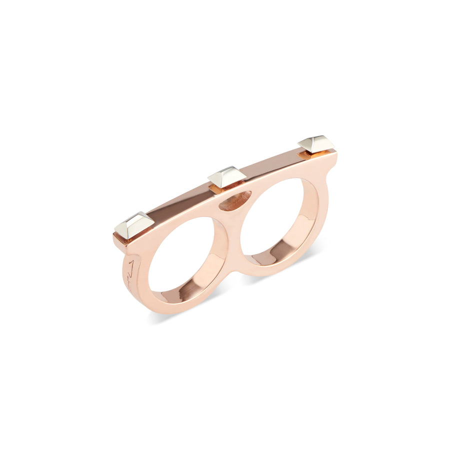 Rose Gold Sparks Fly Double Finger Matchstick Ring