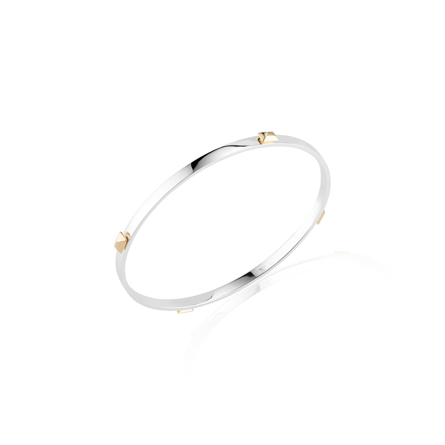 Sterling Silver and Gold Sparks Fly Bangle