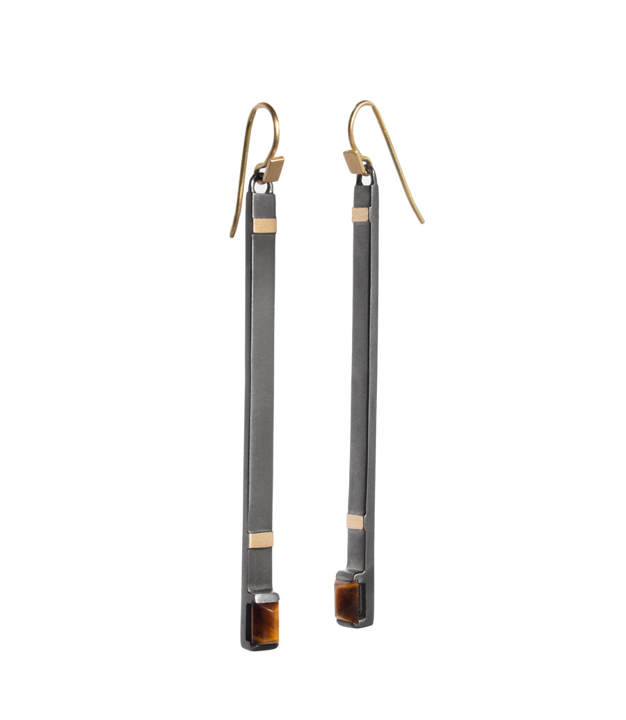 Raging Track Tiger Eye Matchstick Earrings