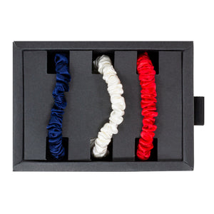 Blissy Skinny Scrunchies - Red, White, Blue