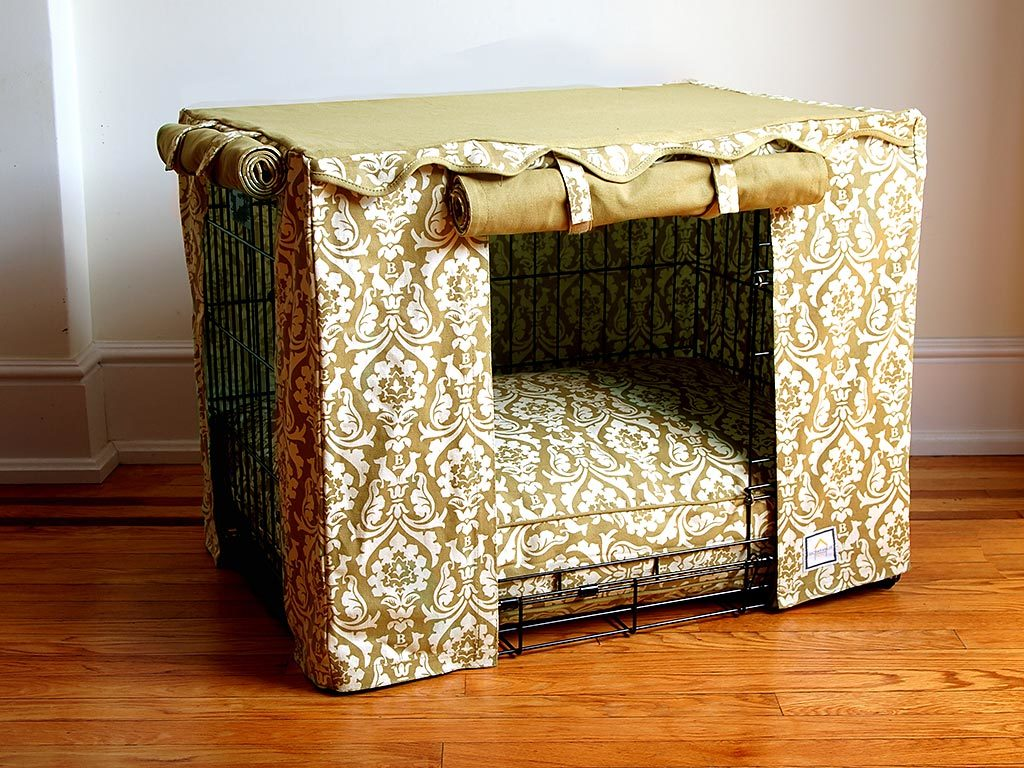 Damask Tan Crate Cover - Luxurious Paws