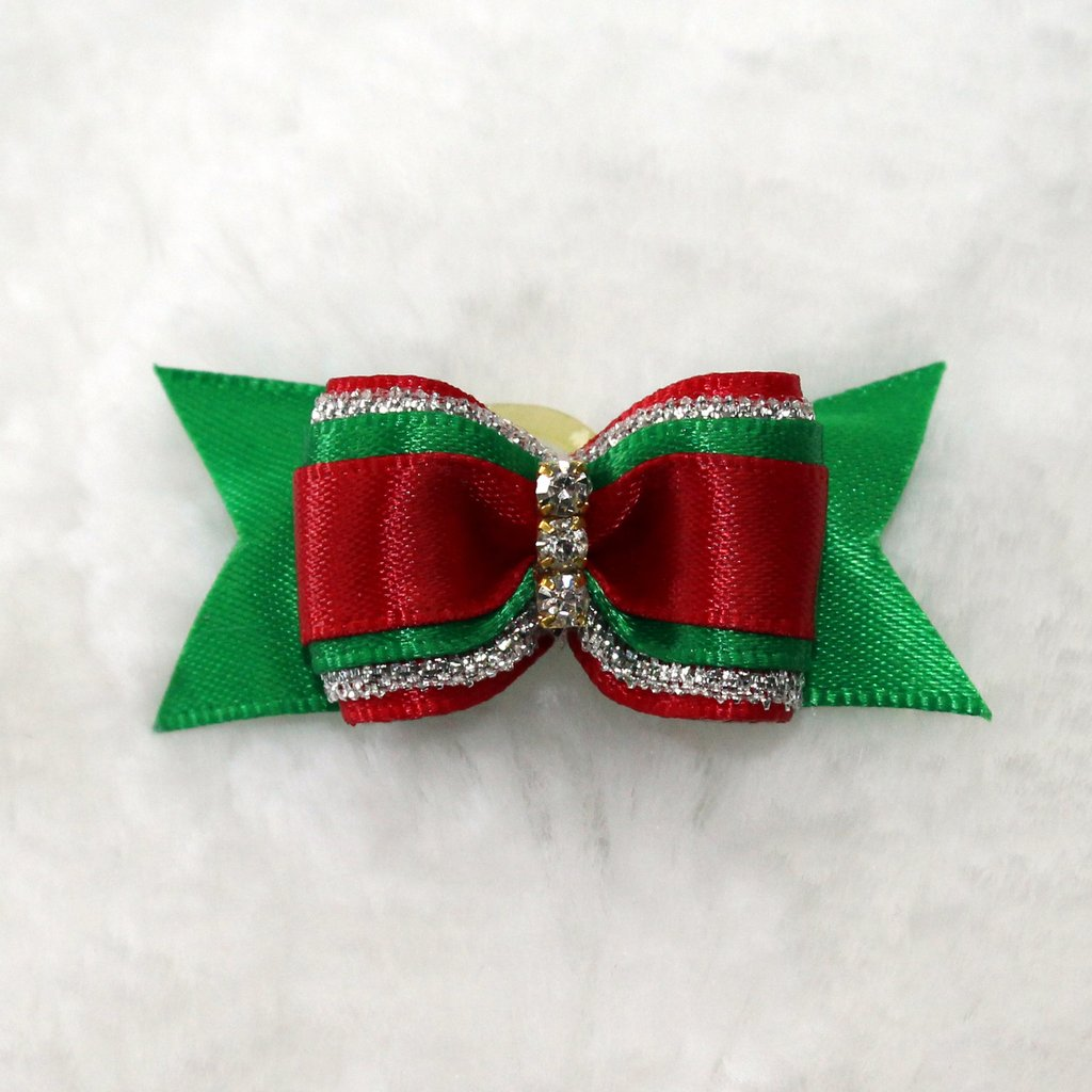 Red & Green Bow - Luxurious Paws