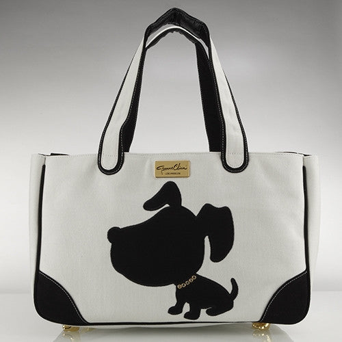 Doggie Style Canvas Rescue Me tote White - Luxurious Paws