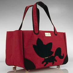 Foxy Pom Canvas Rescue Me tote Red - Luxurious Paws