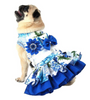 Dog Dress, Dog Harness - Blue and White Girl Dog Harness - Luxurious Paws